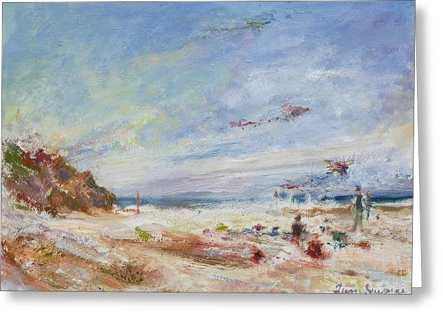 Sienna Greeting Cards - Beachy Day - Impressionist Painting - Original Contemporary Greeting Card by Quin Sweetman