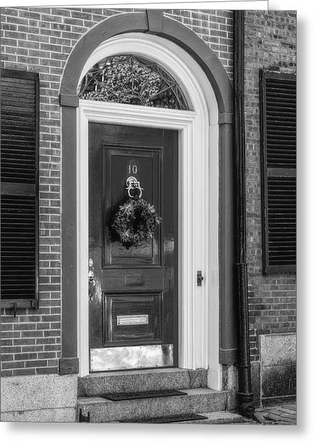 Beacon Hill Door Bw Greeting Card by Susan Candelario