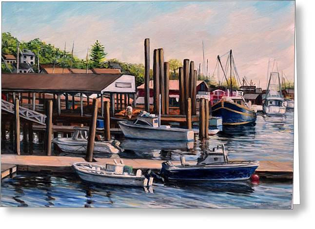 Fishing Boats Greeting Cards - Beacon Marina Gloucester MA Greeting Card by Eileen Patten Oliver