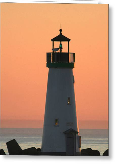 Santa Cruz Harbor Greeting Cards - Beacon of Light Greeting Card by Holly Ethan