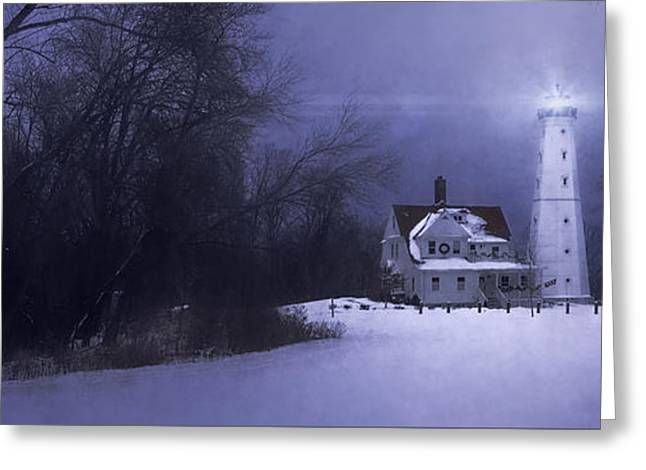 Winter Night Greeting Cards - Beacon Greeting Card by Scott Norris