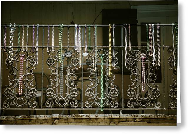 Nola Photographs Greeting Cards - Beads On Wrought Iron Rail Greeting Card by Garry Gay