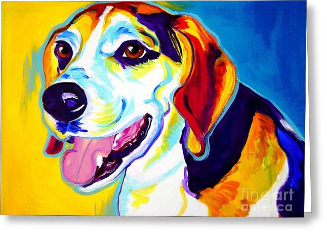 Beagle Prints Greeting Cards - Beagle - Lou Greeting Card by Alicia VanNoy Call