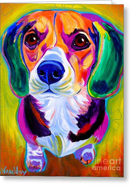 Beagle Prints Greeting Cards - Beagle - Molly Greeting Card by Alicia VanNoy Call