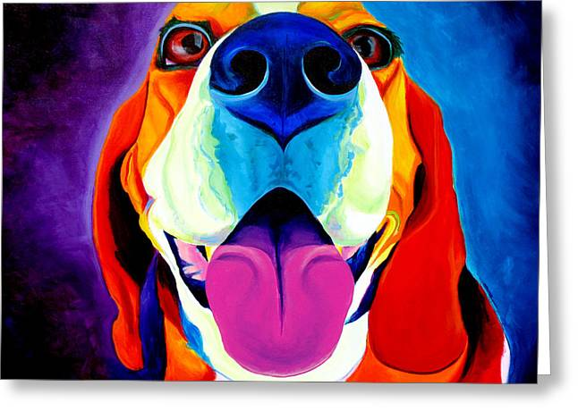 Pure Greeting Cards - Beagle - Lollipop Greeting Card by Alicia VanNoy Call