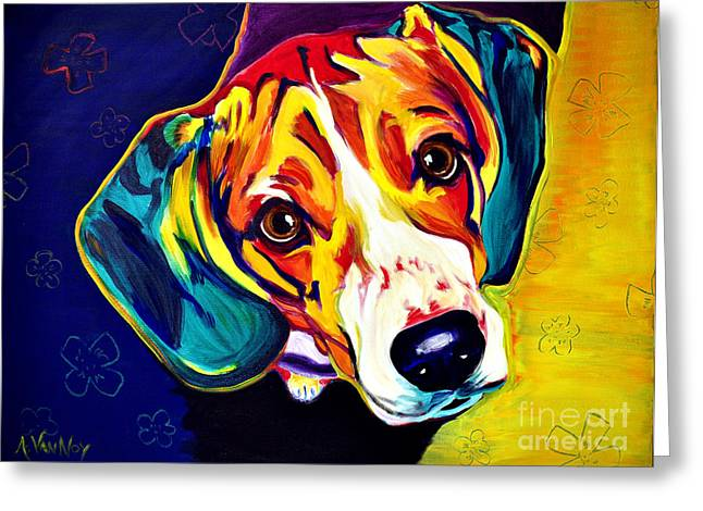 Dog Prints Greeting Cards - Beagle - Bailey Greeting Card by Alicia VanNoy Call