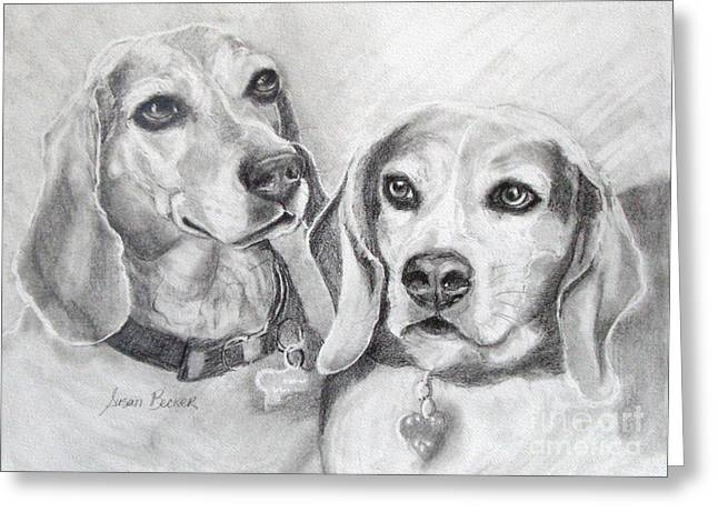 Dog Pencil Greeting Cards - Beagle Boys Greeting Card by Susan A Becker