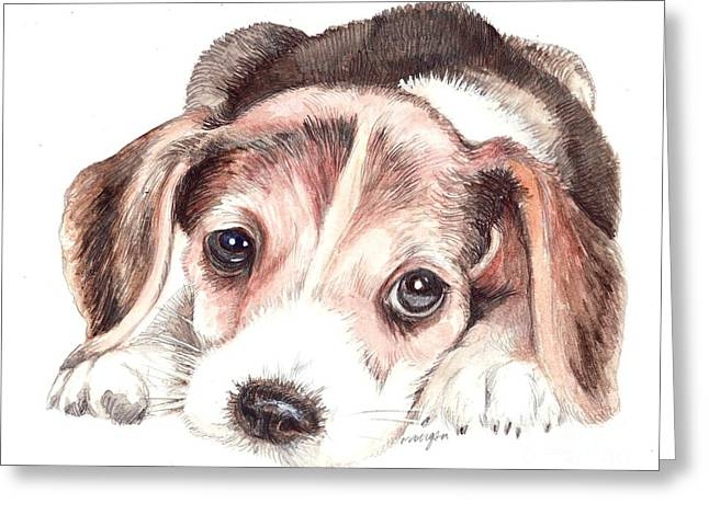 Puppies Mixed Media Greeting Cards - Beagle Puppy Greeting Card by Morgan Fitzsimons