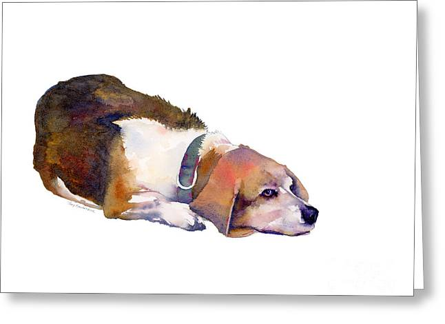 Beagle Thoughts Greeting Card by Amy Kirkpatrick