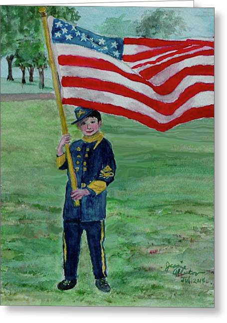Beaming With American Pride Greeting Card by Jeannie Allerton