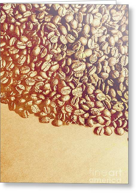 Bean Background With Coffee Space Greeting Card by Jorgo Photography - Wall Art Gallery