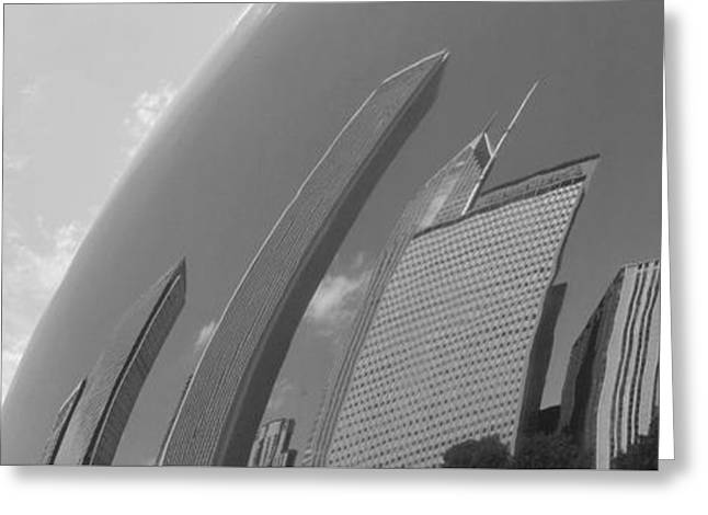 The Bean Greeting Cards - Bean Distortions Panorama B n W Greeting Card by Richard Andrews