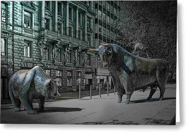 bear and bull Frankfurt Greeting Card by Joachim G Pinkawa
