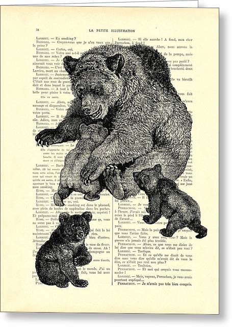 Bear And Cubs Black And White Antique Illustration Greeting Card by Madame Memento