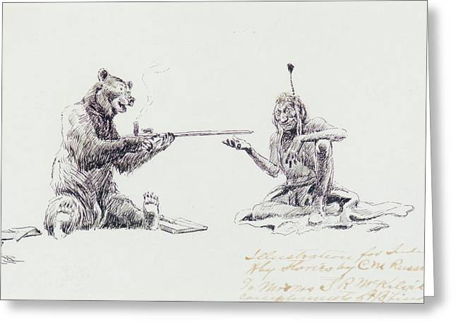 Charles River Paintings Greeting Cards - Bear and Indian Smoking Pipe Greeting Card by Celestial Images