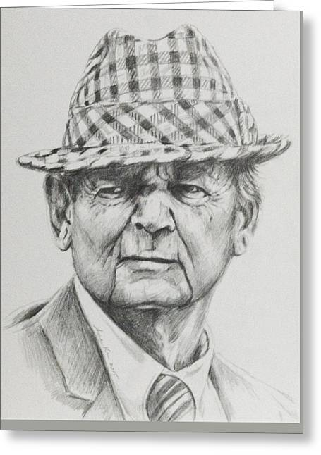 Alabama Drawings Greeting Cards - Bear Bryant 2015 Greeting Card by Hae Kim