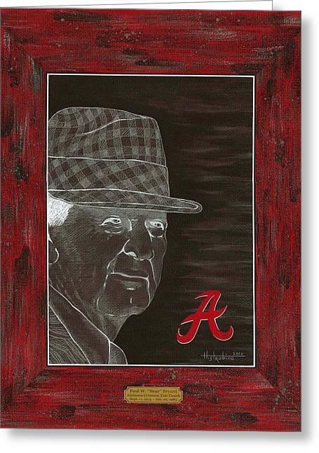 Bear Bryant Portrait Greeting Card by Herb Strobino