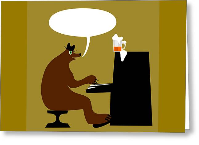 Bear By Piano  Greeting Card by Lenka Rottova