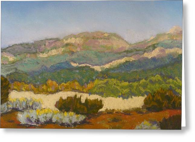 Layers Pastels Greeting Cards - Bear Canyon Mountains Greeting Card by Constance Gehring