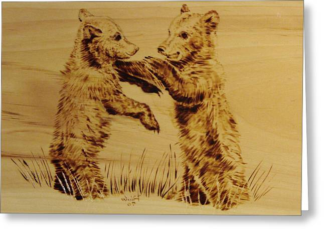 Playful Pyrography Greeting Cards - Bear Cubs Greeting Card by Chris Wulff