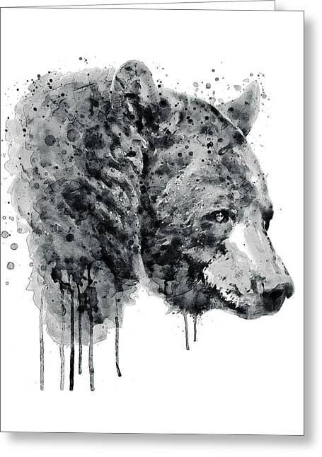 Bear Head Black And White Greeting Card by Marian Voicu