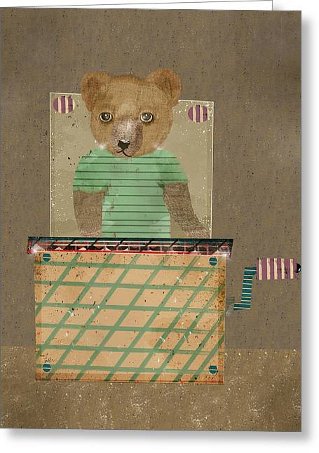 Jack-in-the-box Greeting Cards - Bear In A Box Greeting Card by Bri Buckley