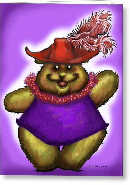 Bear In Red Hat Greeting Card by Kevin Middleton