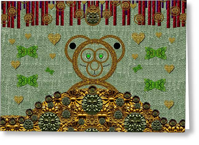 Medieval Temple Greeting Cards - Bear in The blueberry wood Greeting Card by Pepita Selles
