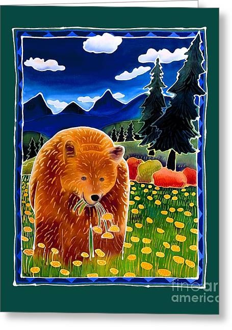 Whimsical Greeting Cards - Bear in the Dandelions Greeting Card by Harriet Peck Taylor