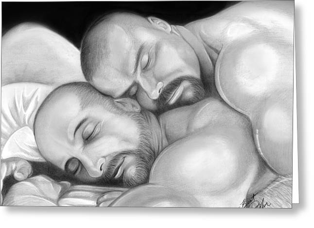 Erotic Male Drawings Greeting Cards - Bear Love 5 Greeting Card by Brent  Marr