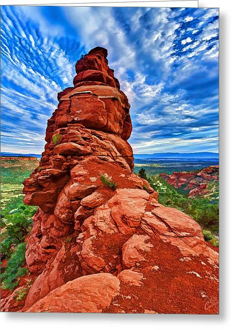 Colorful Cloud Formations Digital Greeting Cards - Bear Mountain Hoodoo 2 Greeting Card by Bill Caldwell -        ABeautifulSky Photography