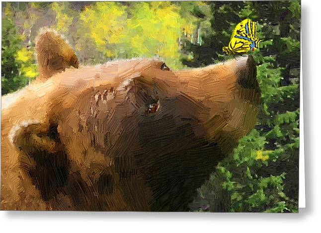 Original Artwork By Doug Kreuger Greeting Cards - Bear - N - Butterfly Effect Greeting Card by Doug Kreuger