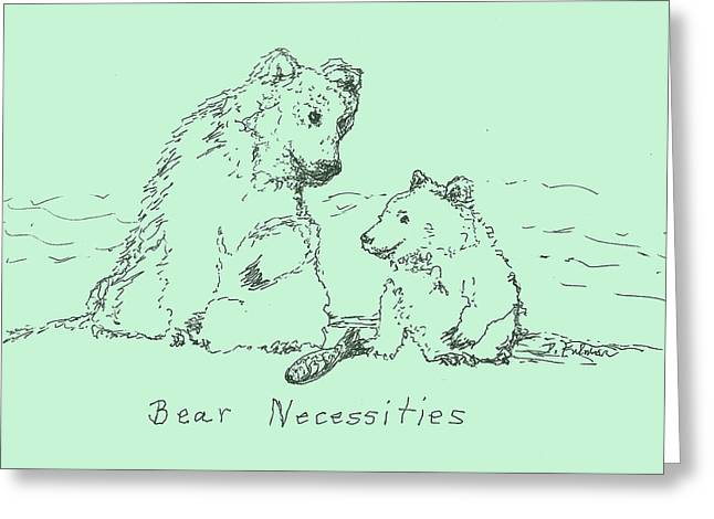 Pen And Ink Drawing Greeting Cards - Bear Necessities Greeting Card by Denise Fulmer