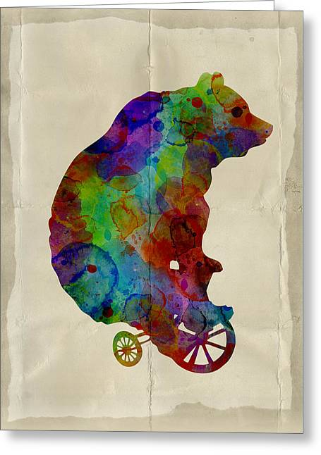 Abstract Digital Art Greeting Cards - Bear on bike Greeting Card by Mihaela Pater