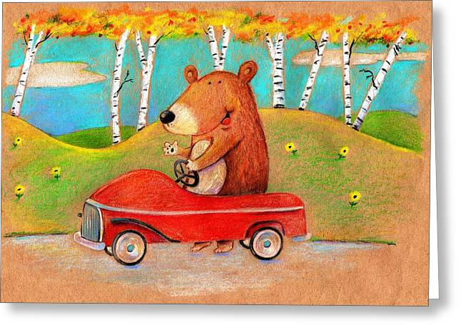 Kids Books Drawings Greeting Cards - Bear out for a drive Greeting Card by Scott Nelson
