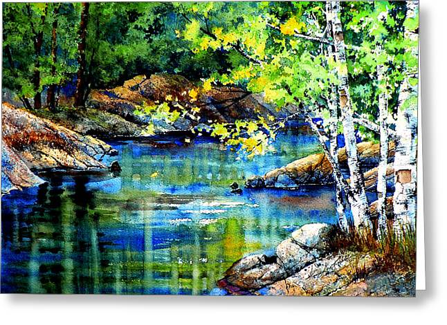 Reflections In River Greeting Cards - Bear Paw Stream Greeting Card by Hanne Lore Koehler