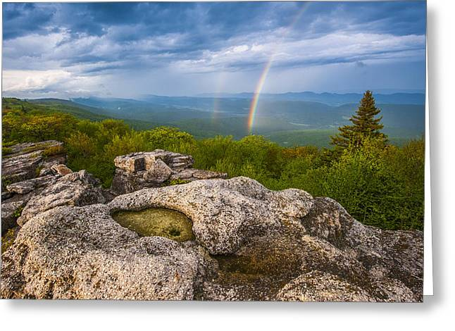 West Virginia Greeting Cards - Bear Rocks Rainbow Greeting Card by Joseph Rossbach