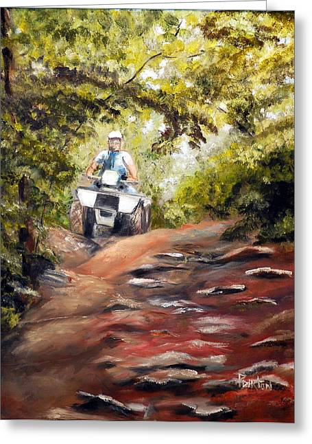 Mccoy Paintings Greeting Cards - Bear Wallow Rider Greeting Card by Phil Burton