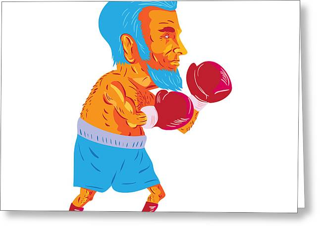 Bearded Boxer Boxing Cartoon Wpa Greeting Card by Aloysius Patrimonio