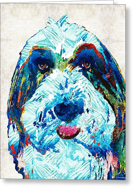 Collie Greeting Cards - Bearded Collie Art - Dog Portrait by Sharon Cummings Greeting Card by Sharon Cummings