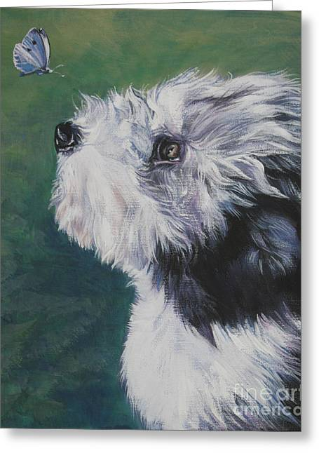 White Beard Greeting Cards - Bearded Collie pup with butterfly Greeting Card by LA Shepard