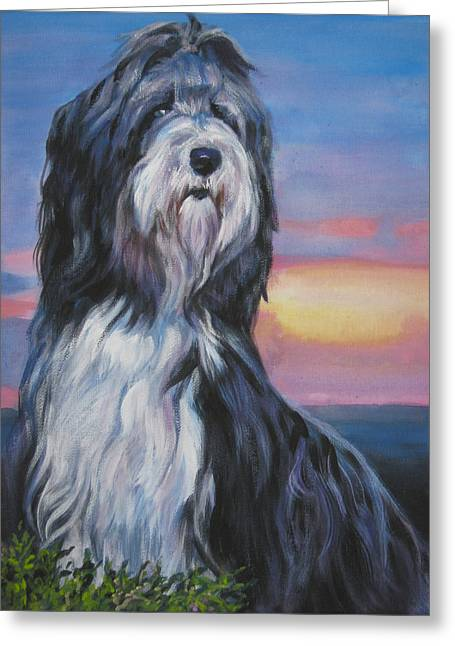 Collie Greeting Cards - Bearded Collie sunset Greeting Card by L A Shepard