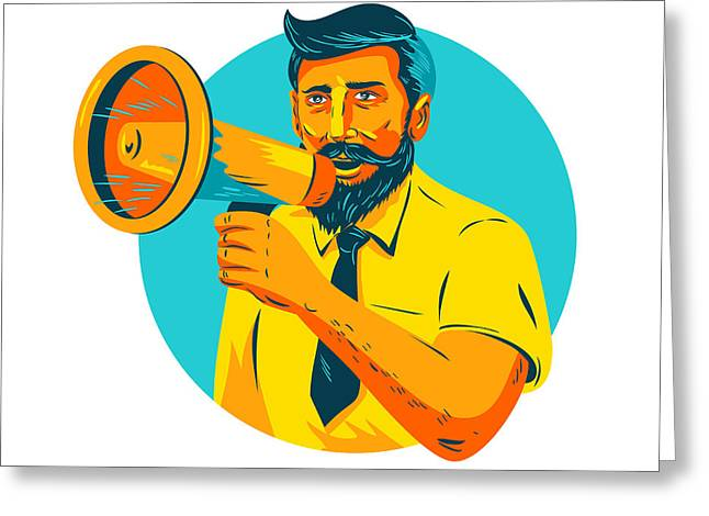 Bearded Hipster Man With Megaphone Wpa Greeting Card by Aloysius Patrimonio