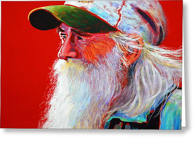 Old Man With Beard Greeting Cards - Bearded Man With Cap Greeting Card by Pat  Joiner