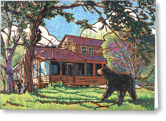 Bears At Barton Cabin Greeting Card by Nadi Spencer