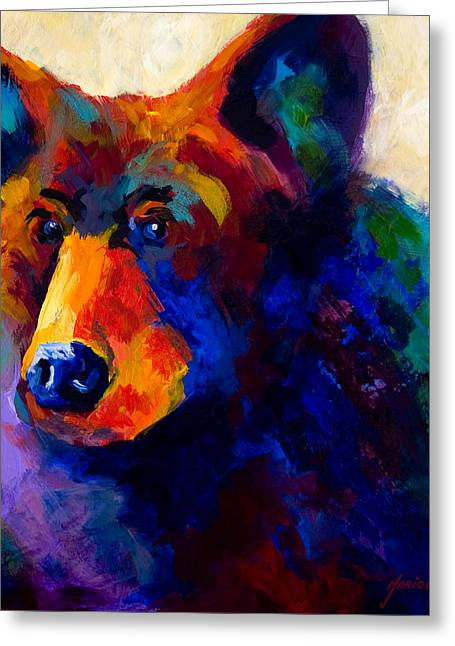 Hunting Paintings Greeting Cards - Beary Nice - Black Bear Greeting Card by Marion Rose