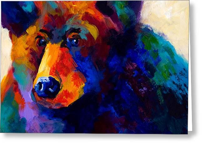 Beary Nice - Black Bear Greeting Card by Marion Rose