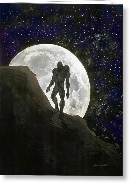 Beast At Full Moon Greeting Card by Kevin Middleton