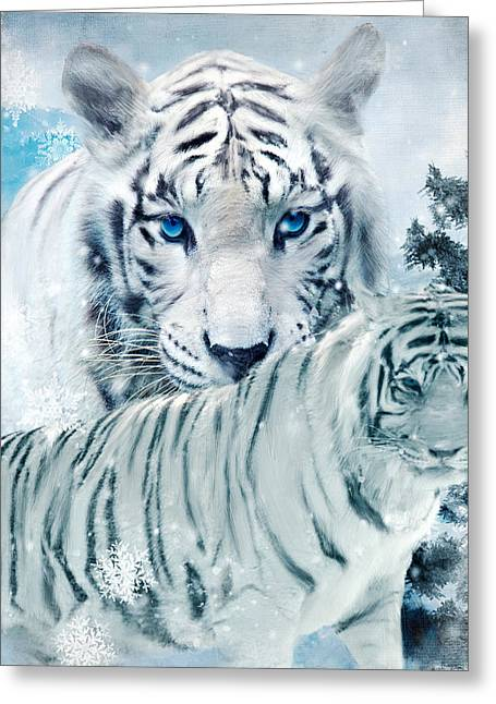 Tigers Digital Greeting Cards - Beastly Buddies Greeting Card by Lourry Legarde