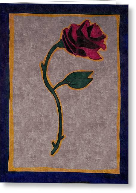 Belles Mixed Media Greeting Cards - Beasts Rose Greeting Card by Jesse Johnson